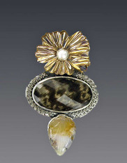 SALE - Amy Kahn Russell Guinea Feather Quartz Bronze Sterling Pin/Pendant