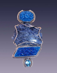 SALE-Amy Kahn Russell Sodalite, Vintage  Glass Faceted Quartz Sterling Pin/Pendant