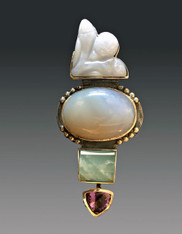 SALE - Amy Kahn Russell Chalcedony, Aquamarine, Amethyst Sterling Pin /Pendant  SOLD