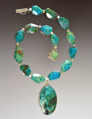 Chrysocolla Faceted Nuggets with Large Silver Framed Pendant