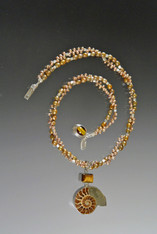 Champagne Pearl Silver torsade w. Rare Ammonite Pendant