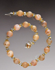 Pink Druzy Swaovski Gold Collar