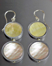 Mother of Pearl Sterling Double Disc Dangle Earrings