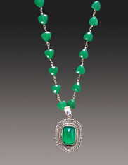 Handwrapped Silver Wire Green Onyx with a Green Onyx  Elaborate Bali Silver Pendant