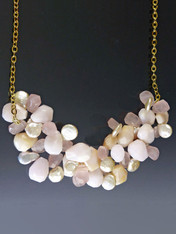 Adjustable! Wear this cluster of luminous pink opal, natural coin pearls and rose quartz necklace.
