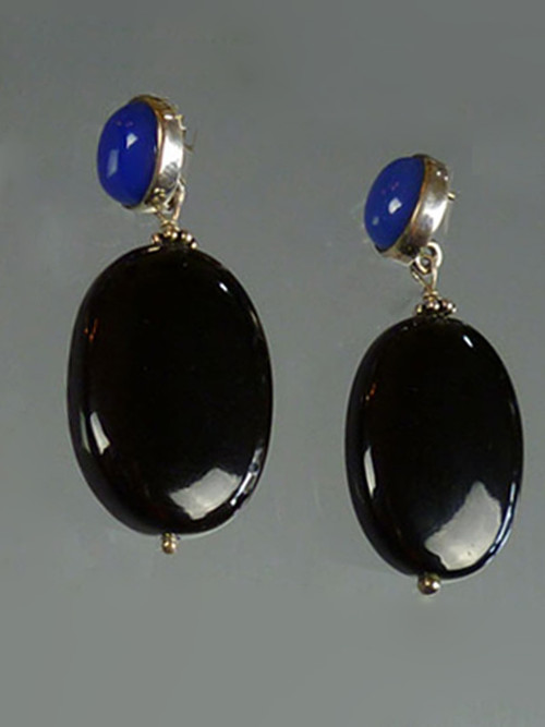 "These Amy Kahn Russell earrings feature a natural blue onyx lapis cabochon and a black onyx oval drop.  1-3/4"" Posts only. (Retail cost $240)"