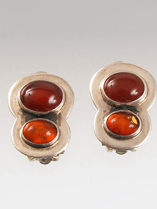 "Amy Kahn Russell original design double discs of carnelian and Baltic Amber bezel set in sterling silver. 3/4"" x 1/2"" Clips; can be converted to posts for an additional $12."