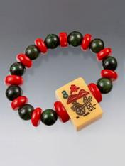 Jade Coral Mahjong Tile Bracelet