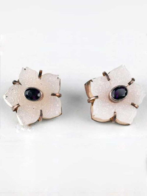 """These Amy Kahn Russell miniature masterpieces feature hand-carved gleaming white Brazilian druzy and faceted amethyst stones bezel set in sterling silver.1"""" x 1"""""""