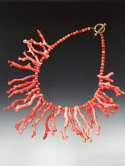 "Don't miss this stunning Pacific Branch Coral Collar.  Increasingly rare and almost extinct. You'll be hard pressed to find such grade AAA natural dark pink Pacific Branch coral anymore. 3-1/2"" to 1"" branches. 20"" 14K Toggle clasp."