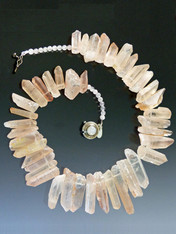 """A website best buy with amazing impact! An 18"""" collar of blush iridescent natural quartz with tones of silver and pale blue with custom sterling clasp. Also available in 19.5"""""""