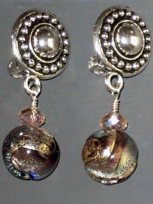 """This elegant design features circle pattern Terracast sterling button clips and genuine amethyst periwinkle Venetian glass globes with a tiny Swarovski crystal for sparkle. Super light and elegant 1"""""""