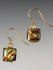 Amethyst-Periwinkle Venetian Square 14K Earrings