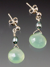 "Faceted aqua chalcedony drops with freshwater pearls. 3/4"" Select sterling posts or earwires"