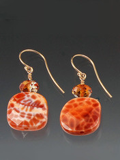 Fire Agate 14K Earrings