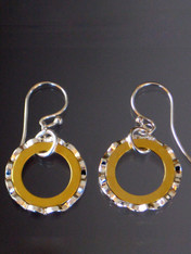Mix and match these textured silver hoops with 24Kultraplate gold hoops inside and sterling earwires !""