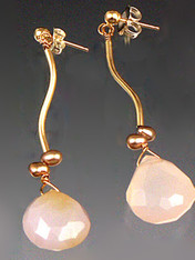 Totally elegant and a great value for real gold. Faceted pale pink chalcedony teardrops topped with tiny freshwater pearls.