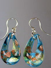 These teardrop earrings feature authentic Murano Glass with a base of Celeste Aqua glass with Gold Foil and aventurina then encased in clear glass with flecks of gold and silver. They are rich in color, each one slightly different as they are entirely handmade. The mound of clear Murano Glass over the color give sit a magnified effect. Sterling Silver Earwires. 1-1/2""