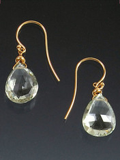 These are the finest earrings you will get in any upscale store. Grade AAA highly faceted gemstone quality pale green amethyst briolettes sparkle like diamonds, catch the light, and blend with so many pieces. 14K earwires. 1""