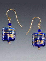 Rare 14K gold cobalt Venetian glass waves topped with cobalt Swarovski crystals, 14K rondels and earwires. 1""