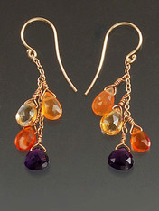 All the season's hot colors in these dazzling dangle earrings with faceted African amethysts (the finest natural deep purple), fire opals, carnelian and citrine on a 14K gold chain with 14K or 18K earwires. 1""