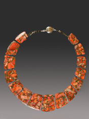 This collar of intricately patterned orange sea-sediment jasper with pyrite highlights brightens every outfit. 18""