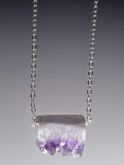 "Amethyst Stalactite Pendant on 24"" sterling ultraplate chain"