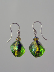 Green is one of the hottest trends this year.These stunning earrings feature limited edition Venetian glass dichroic glass sasso three dimensional beads, Swarovski crystals and sterling silver earwires. 1""