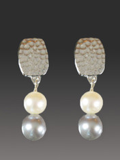 """These Bess Heitner earrings feature patterned silver with two grade AAA luminous round pearls in white and gray.  Very fine quality at a great praice. 1-1/4"""""""