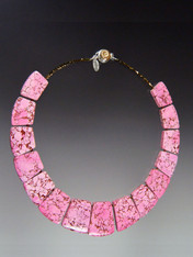 This bright howlite geometric collar features intricately patterned pink that will blend will all your spring summer ensembles. 18""