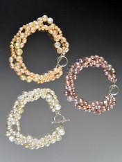 Triple Strand Pastel Pearl Sterling Toggle Bracelet