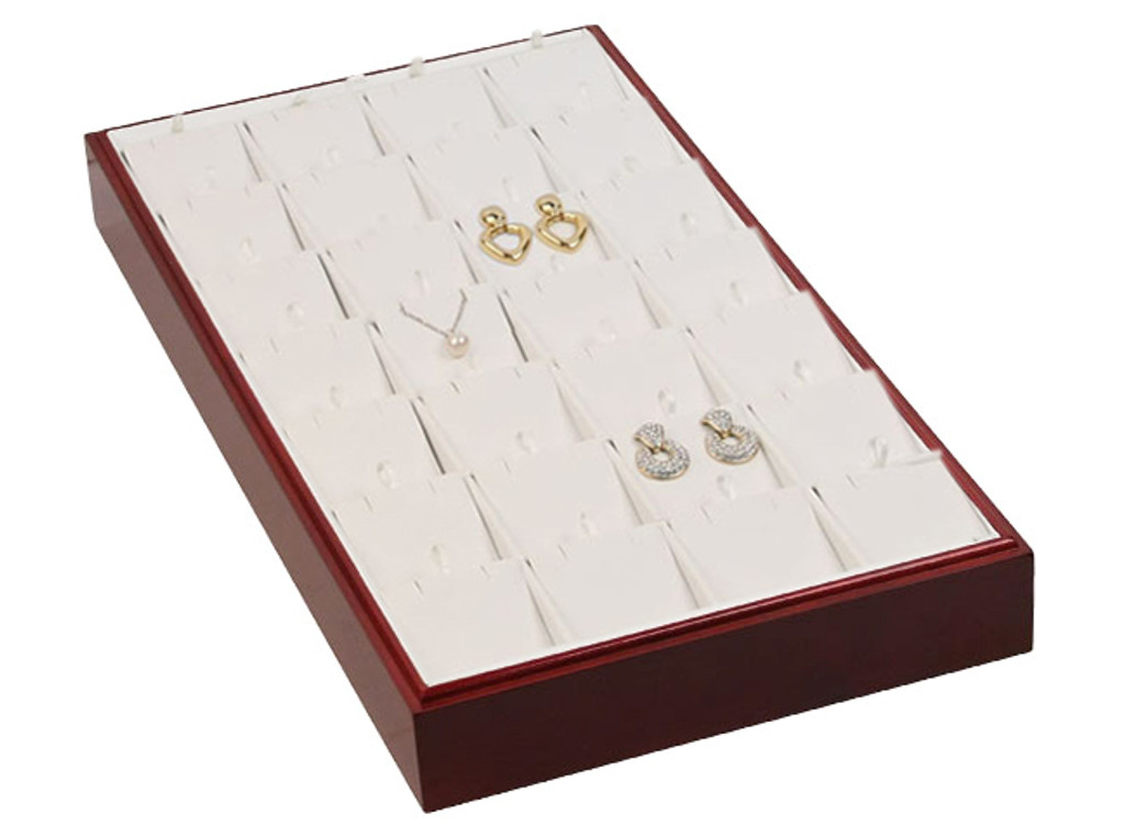 """Stackable 28 Pendant/Earring Tray - Rosewood with White Leather,18"""" x 9 1/2"""" x 1 7/8""""H"""
