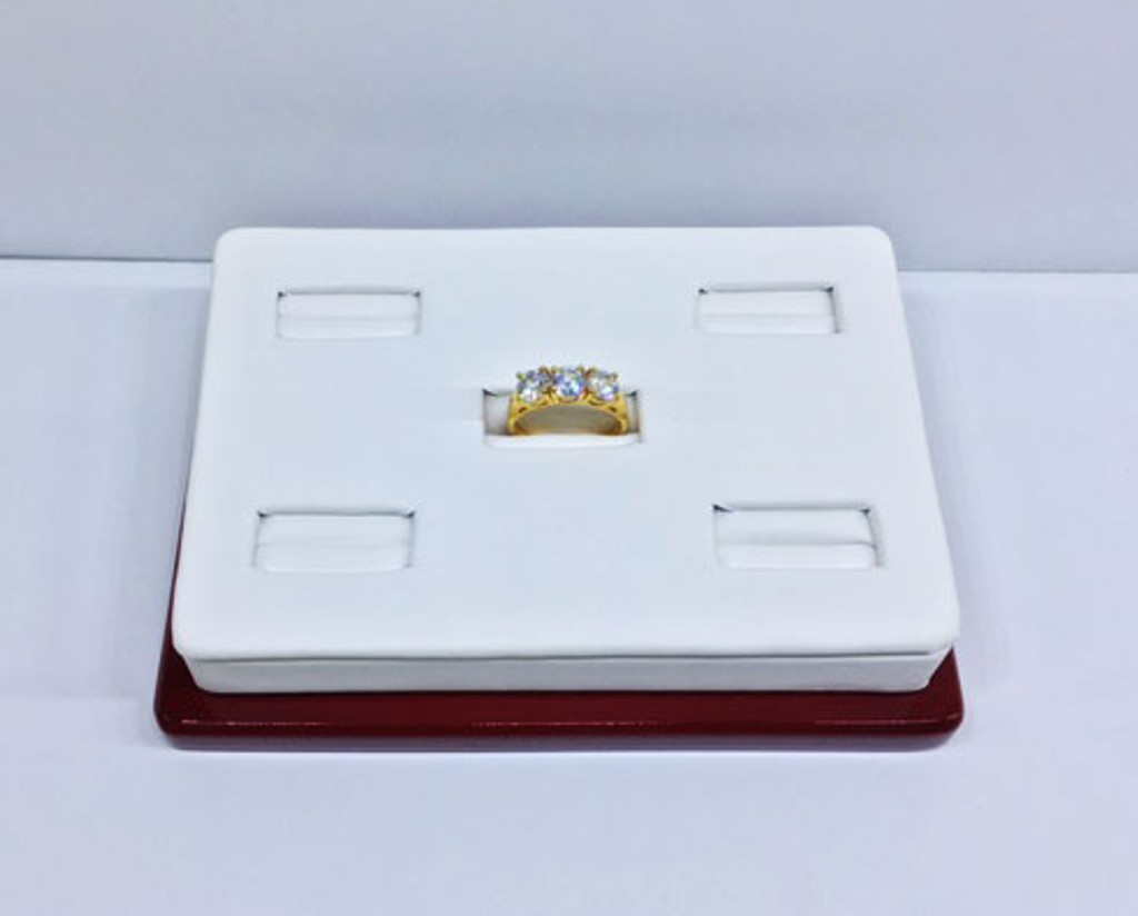 Ring Display w/ Faux Leather and Wood Trim (F35-5-RW)