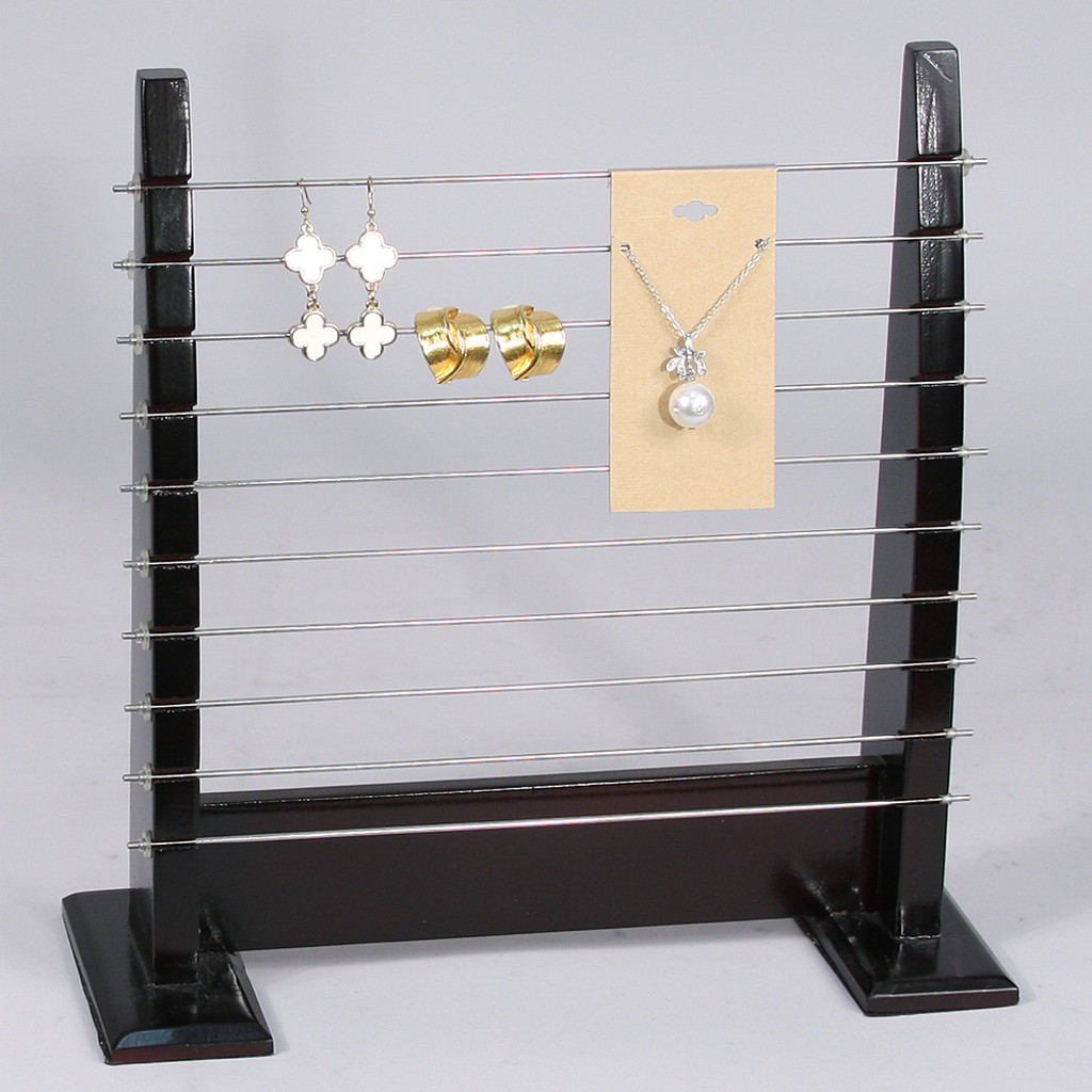 "Wooden Bead-Earring Stand, 10 7/8"" x 4 1/4"" x 11""H, Dark Walnut"