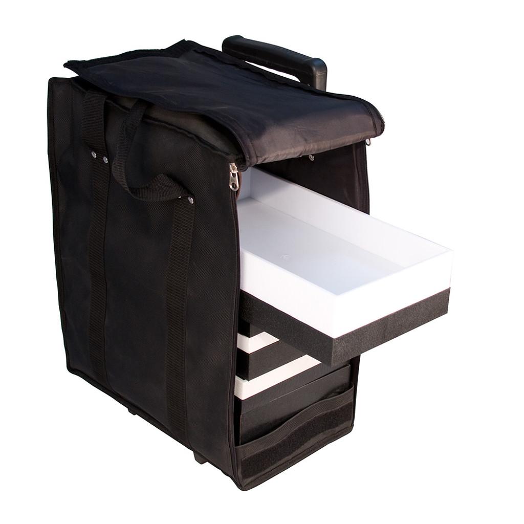 "Soft PVC carrying case w/handle - Black, 16"" x 9"" x 19""H"