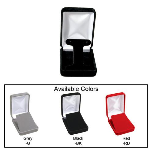 """Velvet metal T-shape earring box , 2 1/4"""" x 3"""" x 1 1/4""""H , Choose from various Color"""