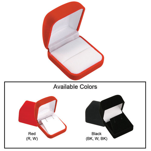 """Flocked Velour Ring Box, 2"""" x 2 1/4"""" x 1 1/4"""", Choose from various Color"""