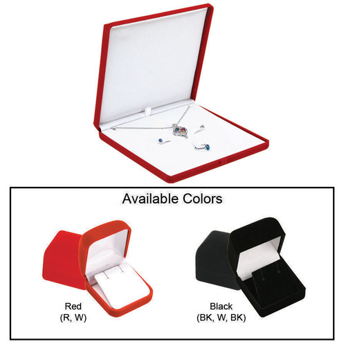 """Flocked Velour Combo. Box, 6 3/8"""" x 6 3/8"""" x 1"""", Choose from various Color"""