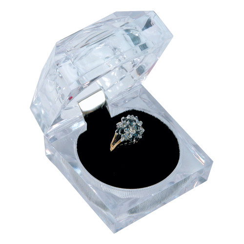 "Crystal clear ring box, 1 7/8"" x 1 7/8"" x 1 3/4""H"