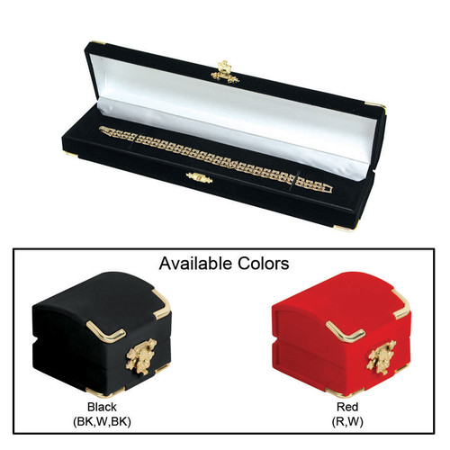 "Flocked Velour Clasped Bracelet/Watch Box , 8 3/4"" x 2 1/8"" x 1 3/8""H , Choose from various Color"