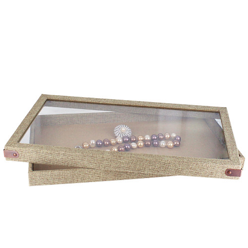 """Antique look acrylic top lid case - burlap, 14 3/4"""" x 8 1/4"""" x 2 1/8"""", Choose from various Color"""