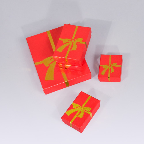 Glossy Red - Gold Bow Cotton Filled Boxes (Choose from various sizes), price for 100pcs