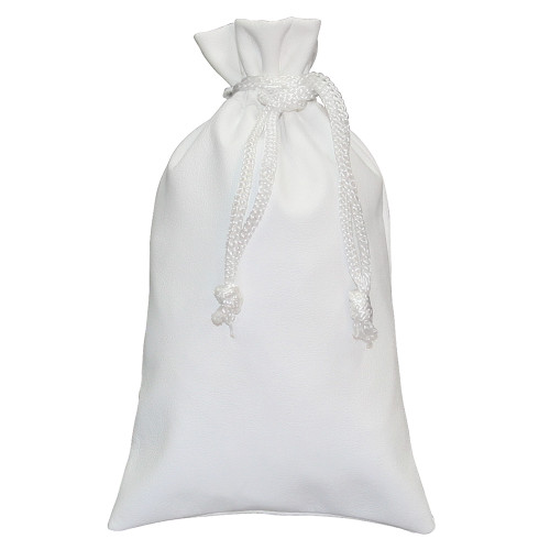 "White Leather Drawstring Pouch, 3"" x 3 1/4"", price for 12 pieces"