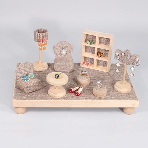 "9-Piece Mini Furniture Set, 16"" x 9 7/8"" x 8 3/8"", Burlap with Natural Wood Trim"