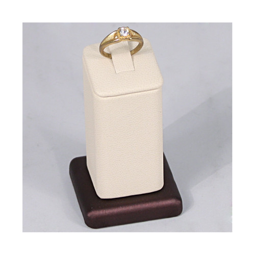 "Ring Clip Display, 1 3/4"" x 1 3/4"" x 3""H, Premium Beige With Steel Brown Faux Leather"