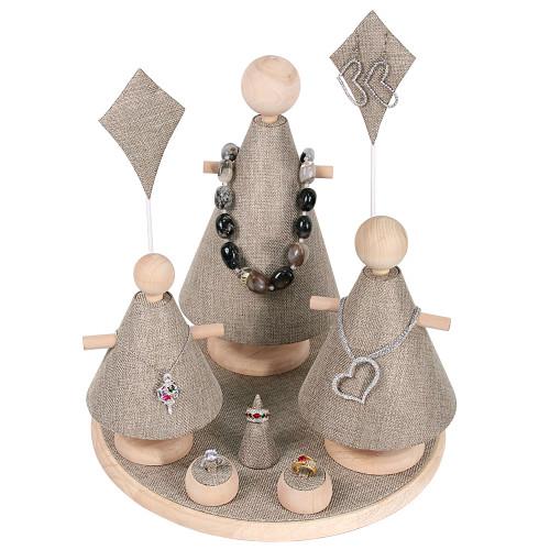 """9-Pieces Burlap with Natural Wood Trim ,13"""" Dia. x 14 3/4""""H"""