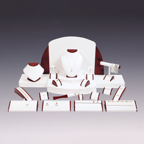 "23-Pieces White Faux Leather with Glossy Rosewood Trim Display Set, 40"" x 18"" x 16""H"