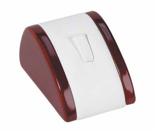 "1-Ring Clip,White Leather with Rosewood Trim Display, 2 1/8"" x 3"" x 1 5/8""H"