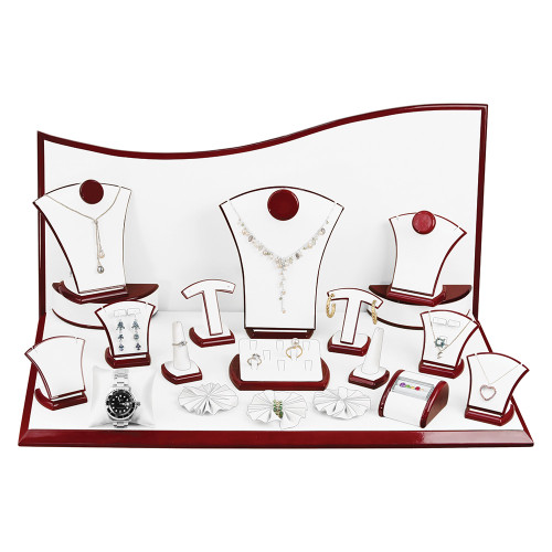 "22-Pieces, White Leather with Rosewood Trim Display Set, 26"" x 14 1/2"" x 13""H"