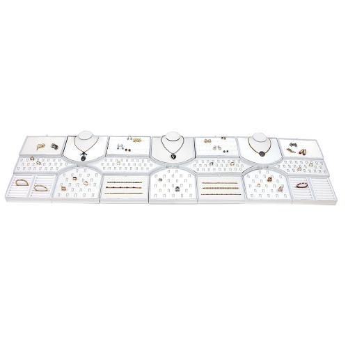 """18-Pieces White Faux Leather Set, 68"""" x 18 1/4"""" x 2 1/2""""H"""